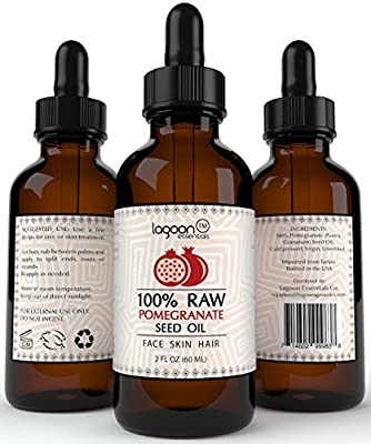 100% PURE Pomegranate Seed Oil Cold Pressed Unrefined (2oz / 60ml). For Skin, Hair, Nails, Acne, Wrinkles, Psoriasis, Eczema and much more. Lagoon Essentials (Bottle With Dropper + E-Book).
