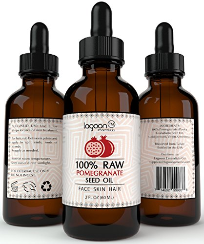 Price comparison product image 100% PURE Pomegranate Seed Oil Cold Pressed Unrefined (2oz / 60ml). For Skin, Hair, Nails, Acne, Wrinkles, Psoriasis, Eczema and much more. Lagoon Essentials (Bottle With Dropper + E-Book).