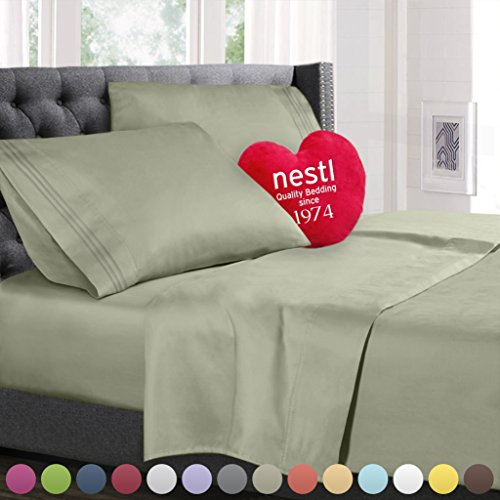 Full Size Bed Sheets Set Sage Green, Highest Quality Bedding