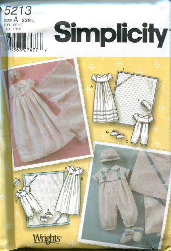 Simplicity Sewing Pattern 5213 Size A (XXS-L) Babies' Christening Gown, Romper, Booties, Hat, and Blanket