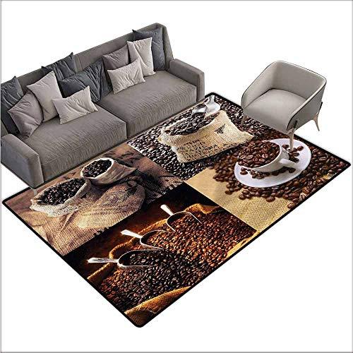 Living Room Bedroom Carpets Coffee,Rustic Collage of Grains 80