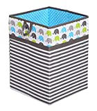 Bacati Collapsible Storage Hamper, Elephants, Aqua/Lime/Grey, One Size
