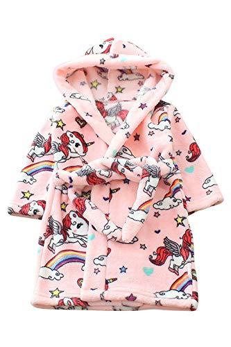 JYUAN Kids Unicorn Robe Hooded Bathrobe Soft Warm Plush Flannel Fleece Bath Robe Halloween Cosplay Costume for Girls Boys ()