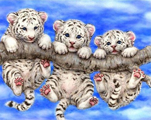 5D Full Drilled Round Beads Needlework Diy Diamond Painting Cross Stitch Diamond Embroidery Little Cute Tiger (40×40)CM