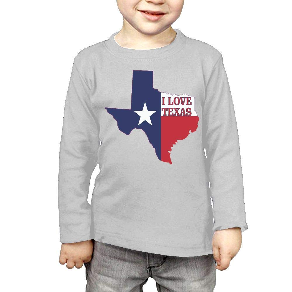 Baby Girls Childrens I Love Texas Texan Flag Printed Long Sleeve 100/% Cotton Infants Tops
