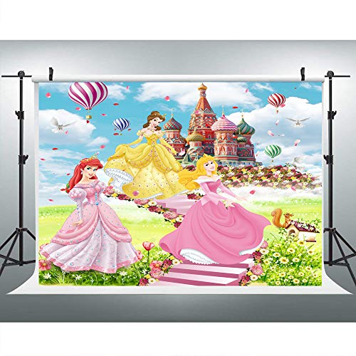 Disney Princess Photography Background 7x5ft Wonderland Castle with Hot Air Balloon Photography Backdrops for Girls Birthday Party Decoration Custom Name