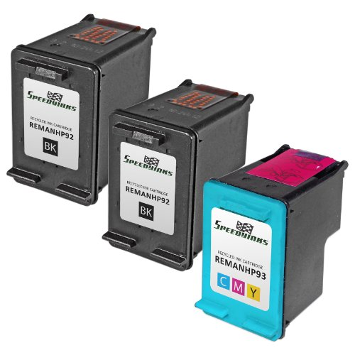Speedy Inks - 3PK Remanufactured replacement for HP 92 C9362WN & HP 93 C9361WN Ink Cartridge Set: 2 Black & 1 Color