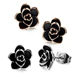 Allencoco 18K Gold Plated Black Rose Flower Stud Earrings