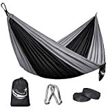 JBM Camping Hammock Single/Double Portable Parachute Hammock Hiking Travel Backpacking – Nylon Hammock Swing – Support 400lbs – 600lbs with Nylon Ropes and Steel Carabiners
