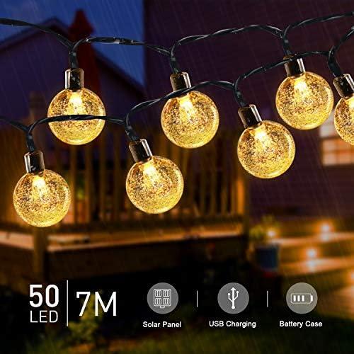 Solar Lichterkette Außen, Tasmor LED Glühbirne Lichterkette Batterie 7M, USB Wiederaufladbar, mit Fernbedienung, IP65 Wasserdicht Außen/Innen Deko für Garten, Hochzeiten, Kinderzimmer, Partys usw.