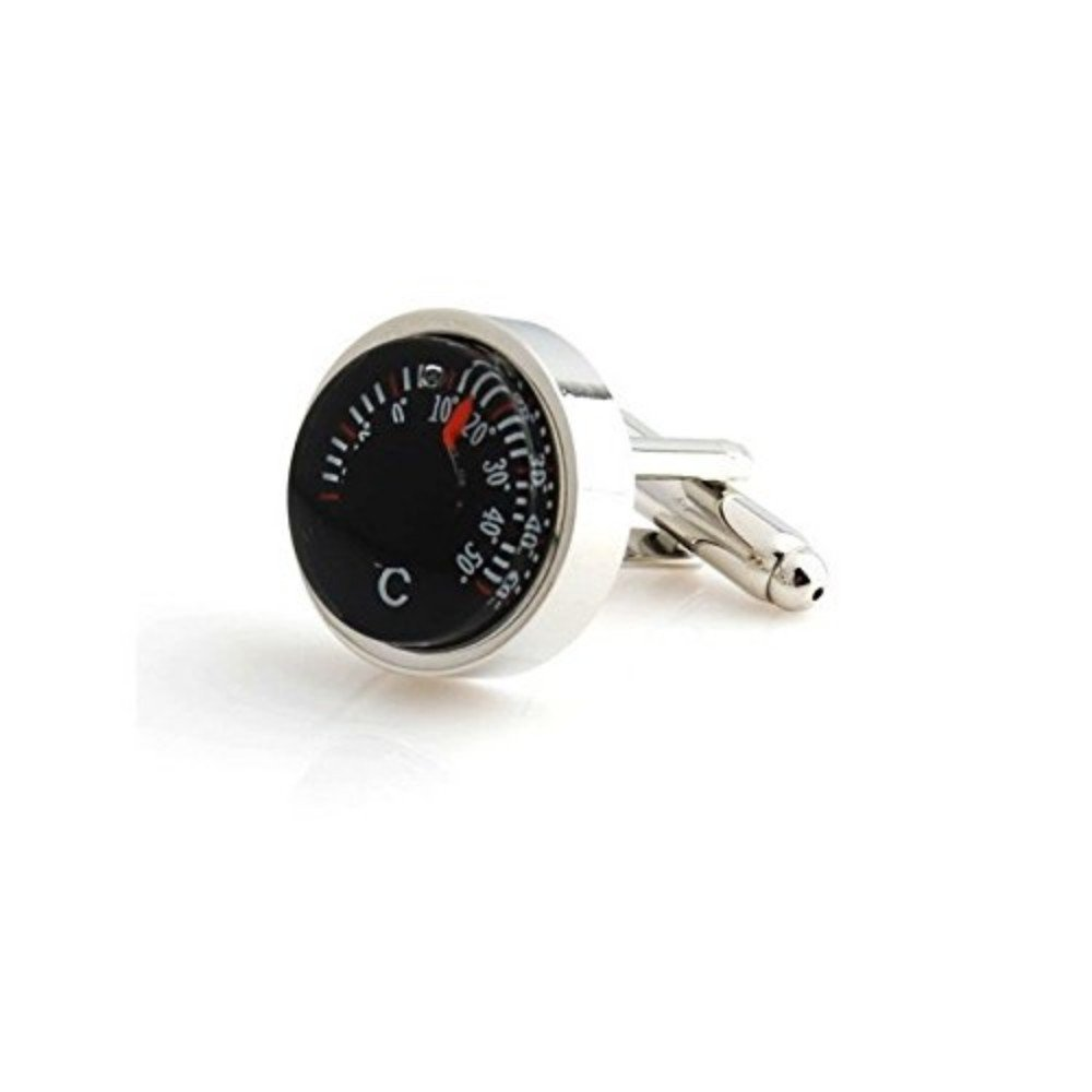 SS Black Temperature Cufflinks for Men