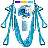 Aerial Yoga Swing Set - Black Yoga Hammock - Trapeze Yoga Kit + Extension Straps & eBook - Wide Flying Yoga Inversion Tool - Antigravity Ceiling Hanging Yoga Sling - Women Men Kids Arial Acro (Blue)