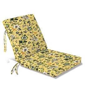 """Weather-Resistant Outdoor Classic Large Club Chair Cushion with Ties, 44"""" x 22""""; hinged 22"""" from bottom, in Lakeside Jacobean"""