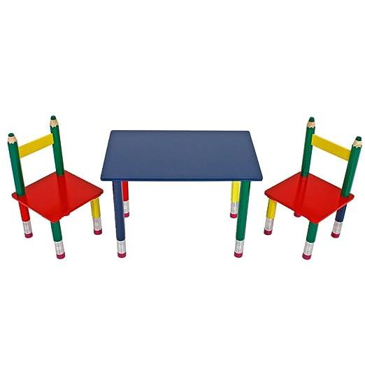 Unbekannt Hochwertige Kinder Tisch Gruppe Stuhle Massiv Holz Bunt