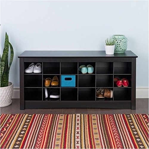 Bowery Hill 18 Cubby Shoe Storage Bench in Black