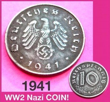 Extremely Rare 1941 Swastika 10 Pfennig Coins- Ww 2 Nazi (1941 Coins)