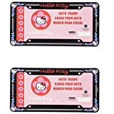 Hello Kitty Head Face with Red Bow and Pink Heart Sanrio Glitter Auto Car Truck SUV Vehicle Universal-fit License Plate Frame - Plastic - PAIR