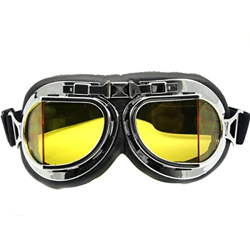 Goege UV Protective Outdoor Glasses-Motorcycle Googles Raf Aviator Vintage Pilot Biker,Half Helmet Glasses,Yellow