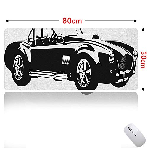 (Cars Mouse pad Large Silhouette Classic Sport Car Ac Cobra Roadster American Antique Engine Autosport Gaming Mouse Map Black White 31×12in)
