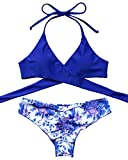 MOSHENGQI Women Front Cross Halter Push up Bikini Floral Bottom 2 Piece Cute Swimsuits (L(US 6-8),Blue)