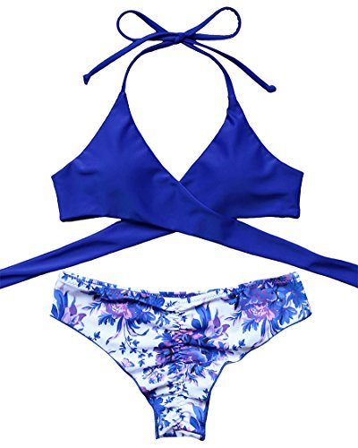 MOSHENGQI Women Front Cross Halter Push up Bikini Floral Bottom 2 Piece Cute Swimsuits (S(US 2-4),Blue)