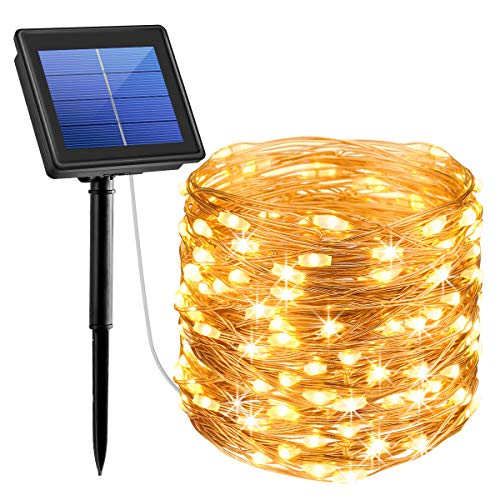 AMIR Upgraded Solar String Lights, 72ft 8 Modes Copper Wire Lights, 200 LED Starry Lights, Waterproof IP65 Fairy Christmas Decorative Lights for Outdoor, Wedding, Homes, Party, Halloween (Warm White)]()
