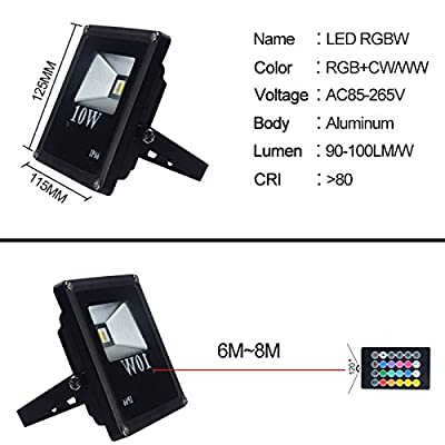 RGBW, 10W AU Plug : IP66 LED Flood Light 10W RGB COB Bulb AC85-265V Waterproof Spotlight Floodlight for Outdoor Garden With Smart Controller Remote