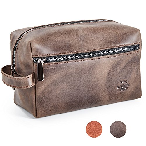 Leather Toiletry Bag Dopp Kit by Rachiba - Mens Leather Toiletry Bag, Shaving and Grooming Kit for Travel, Bathroom Cosmetic Pouch Case - Red Brown Leather - Gift Idea for Men (Leather Red Brown)