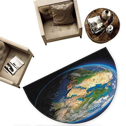 Earth Bath mats for Floors Vivid Earth Globe with Blue Seas Greenery Volumetric Clouds Science Theme Bathroom Mats Half MoonH 55.1'' xD 82.6'' Blue Green Sand Brown