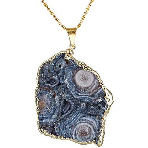 SUNYIK Irregular Natural Agate Druzy Slice Pendant Necklaces for Women,Gold Plated, 1.5