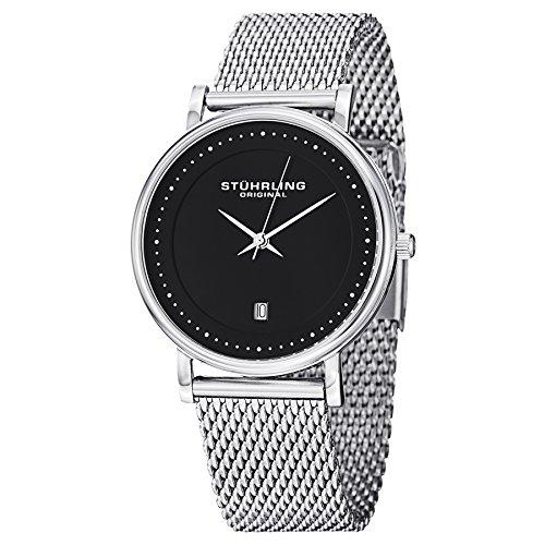 Bracelet Elite Watch Mens - Stuhrling Original Men's 734GM.02 Ascot Casatorra Elite Swiss Quartz Date Stainless Steel Mesh Bracelet Watch