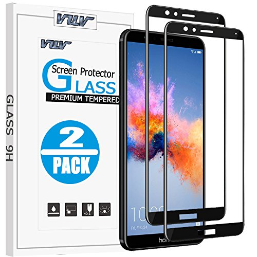 [2 Pack] Huawei Honor 7X Screen Protector, VUV [Full Coverage][2.5D Round Edge][9 Hardness][Anti-Scratch][HD Clear] Tempered Glass for Huawei Honor 7X with Lifetime Replacement Warranty (Black)