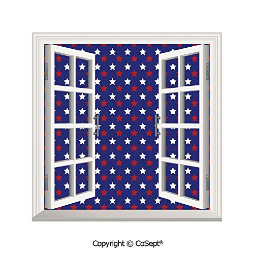 (SCOXIXI Window Wall Sticker,United States of America Theme Federal Holiday Celebration Revolution Design Decorative,3D Window View Decal Home Decor Deco Art (26.65x20 inch) )