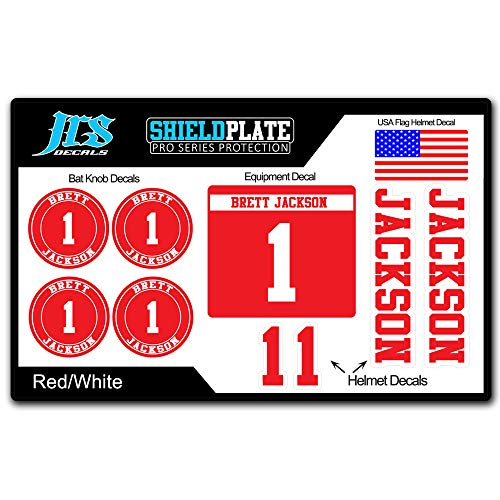 - JRS Decals Baseball Softball Player Bat Knob and Helmet Decal Kit - Complete ID Set with Name and Numbers (Red)