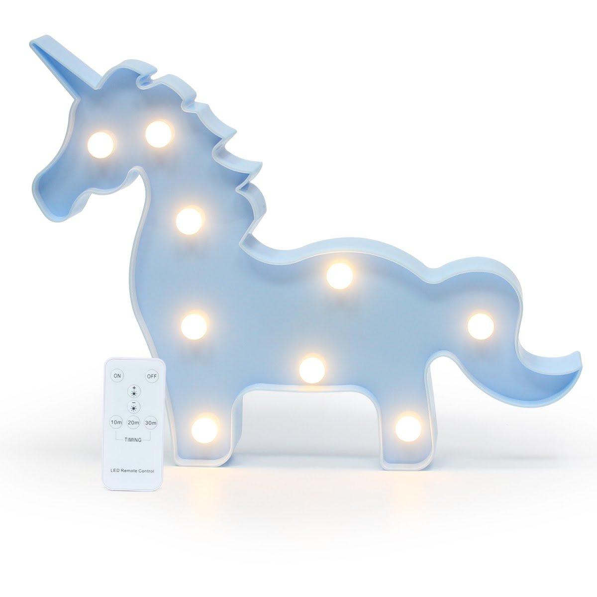 Mochiglory 3D Unicorn Tree Rabbit Star Shaped Animal Light Table Lamp Marquee Unicorn Sign LED Nightlight Home Decoration Battery Operated