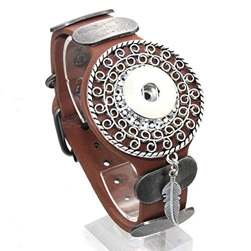 Only Shopping Can Heal Me 25CM Adjustable Snap Bracelet Vintage Metal Leather Bracelet Fit 18mm Snap Button Bracelet for Men Jewelry Watch Belt,G