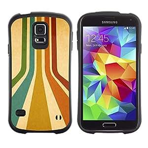 LASTONE PHONE CASE / Suave Silicona Caso Carcasa de Caucho Funda para Samsung Galaxy S5 SM-G900 / Stripes Retro Colors Lines Turquoise Art Red