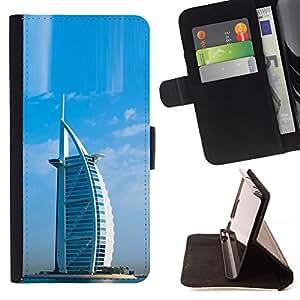 BullDog Case - FOR/LG Nexus 5 D820 D821 / - / Architecture Burj Dubai Arab Hotel /- Monedero de cuero de la PU Llevar cubierta de la caja con el ID Credit Card Slots Flip funda de cuer