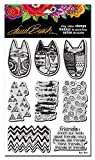 STAMPENDOUS LBCRS06 Laurel Burch Cling Stamp Set, Tribal Cats W/Template