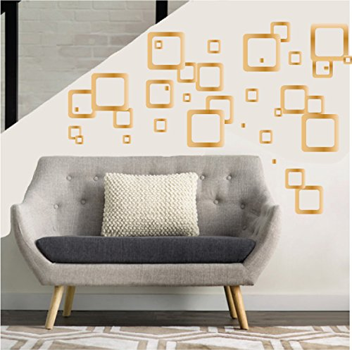 Gold Retro Mod Squares Wall Decals/Modern Geometric Gold Square Wall Decals Stickers (Gold Squares)