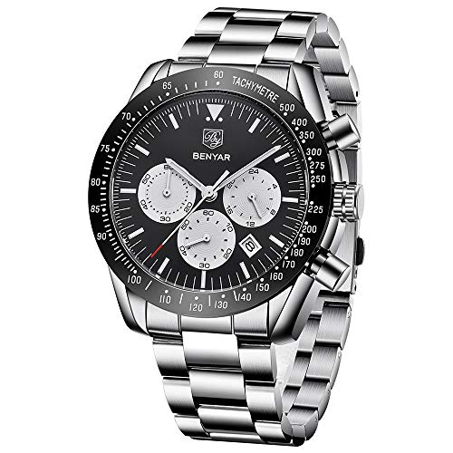 Mens Waterproof Chronograph Analog Watch-BENYAR Luxury Business Dress Stainless Steel Bracelet Wrist Watch Perfect for Birthday -