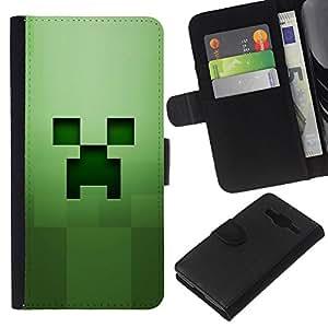 KLONGSHOP // Tirón de la caja Cartera de cuero con ranuras para tarjetas - Cara espeluznante verde - Samsung Galaxy Core Prime //