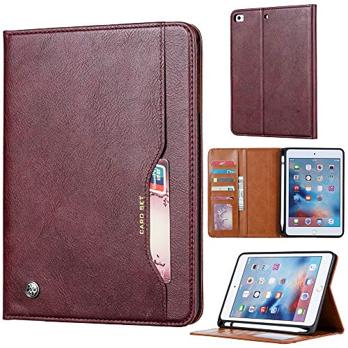 TOTOOSE Leather Wallet Case, Ultra Slim [Backcase] Protective Flip Cover Comfortable for iPad Mini 5 Durable Case Shell -Claret
