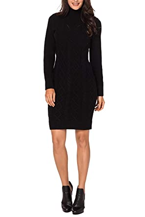 07317046b88 Pink Queen Women s Cable Knit Long Sleeves Turtleneck Sweater Dress Black  Size S