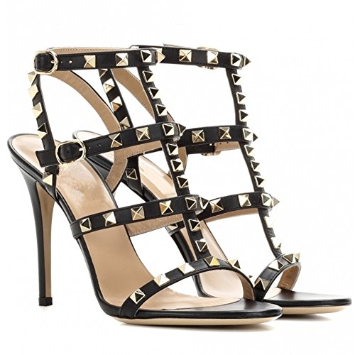 Comfity Heeled Sandals For Women,Strappy Gladiator Shoes Slingback Stiletto Heels Dress Party Wedding Sandals Black