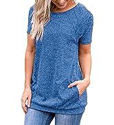 iClosam Camiseta para Mujer Verano con Cuello Redondo Túnica Loose Fit Top con Bolsillos Laterale...