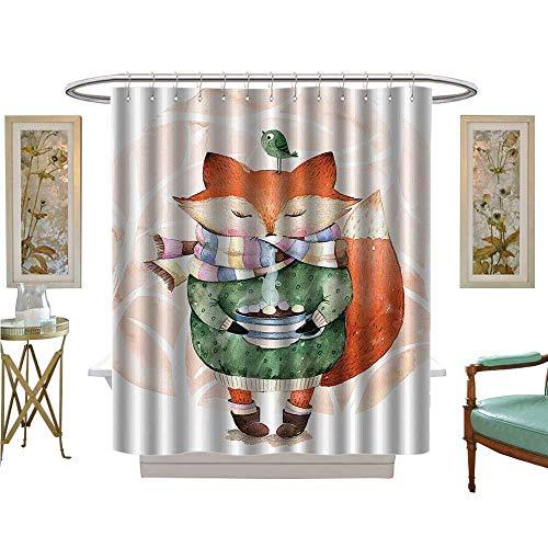 - Leigh R. Avans Shower Curtains with Shower Hooks Little Fox and Bird His Head Tea Time Kids Nursery Friends Baby Theme Bathroom Satin Fabric Sets Bathroom