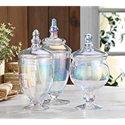 Classic Home Glass Luster Apothecary Jars, Wedding Candy Buffet Containers (Set of 3)