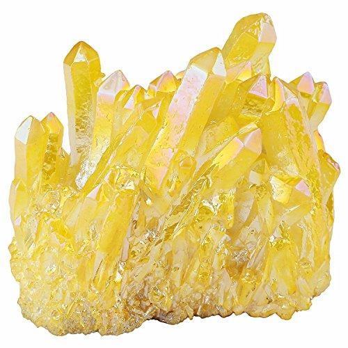 mookaitedecor Titanium Coated Natural Rock Crystal Cluster Geode Stone Specimen,Yellow