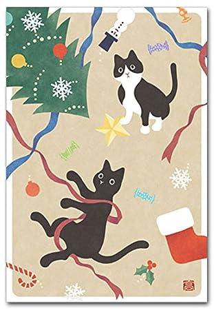 Amazon やさしいイラストポストカード クリスマスねこ ポストカード
